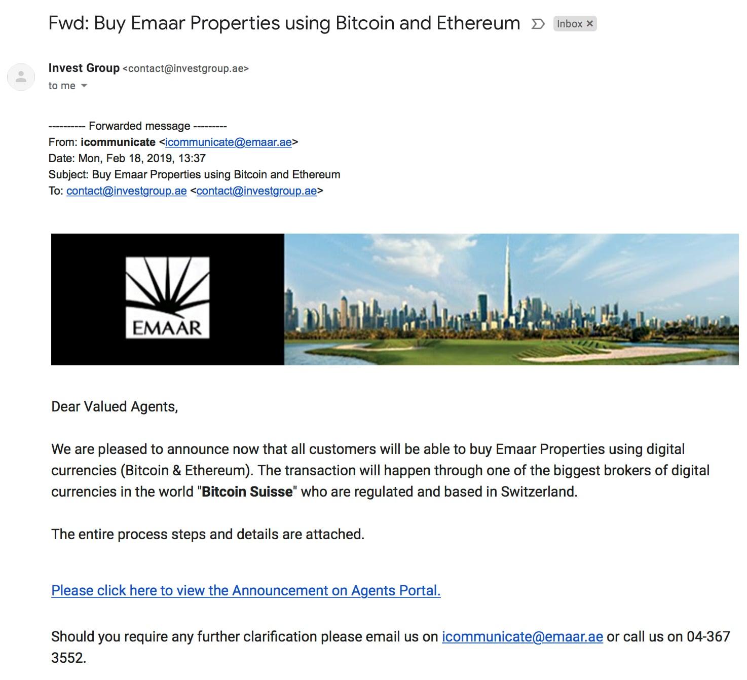 Emaar'ın Bitcoin ve ethereum ile ilgili acentalara gönderdiği e-posta